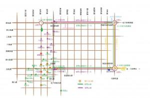祇園祭山鉾巡行コース略地図